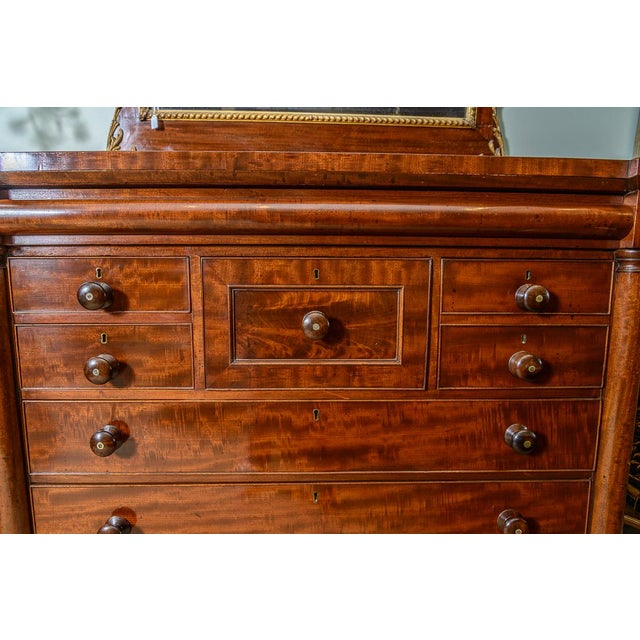 C.1840, Beautiful Scottish chest of drawers. Inlay accents on drawer fronts. Center wig drawer. Columns on each side of...