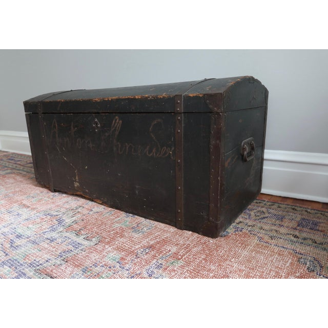 Dometop Steamer Trunk Chest With Metal Strapping and Iron Handles For Sale - Image 10 of 11