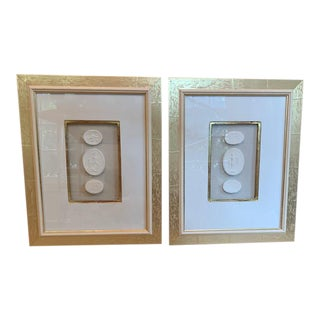 Figurative Hand Cast Plaster Intaglios in 24k Gold Double Frames - a Pair For Sale