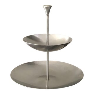 Vintage 1960's Mid-Century Modern Minimalist Stainless Steel 2-Tier Server For Sale