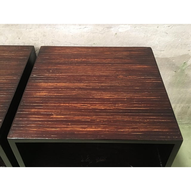 20th Pair of Ebonized Macassar NightStands or Side Tables With One Door For Sale - Image 11 of 12