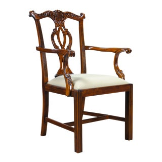 Solid Mahogany Chippendale Arm Chair For Sale