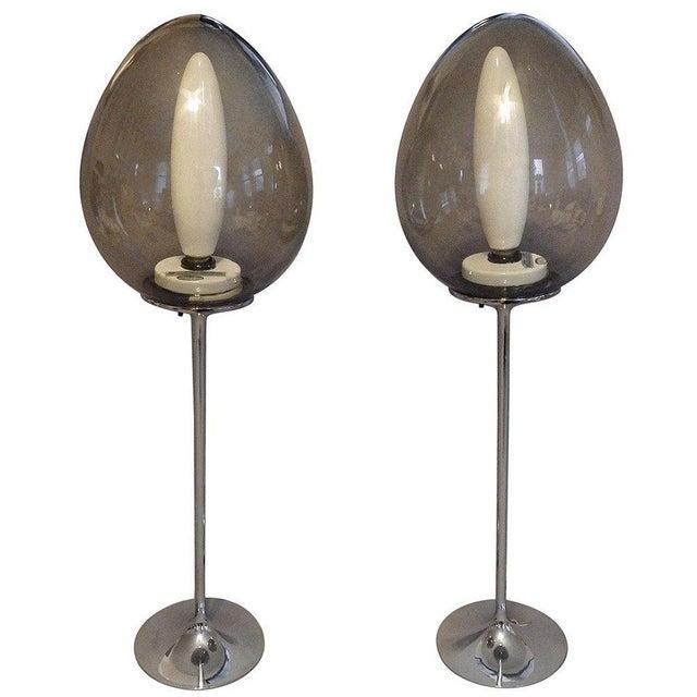 Design Line Pair of Chrome Base Stemlite Mushroom Globe Lamps For Sale - Image 4 of 4
