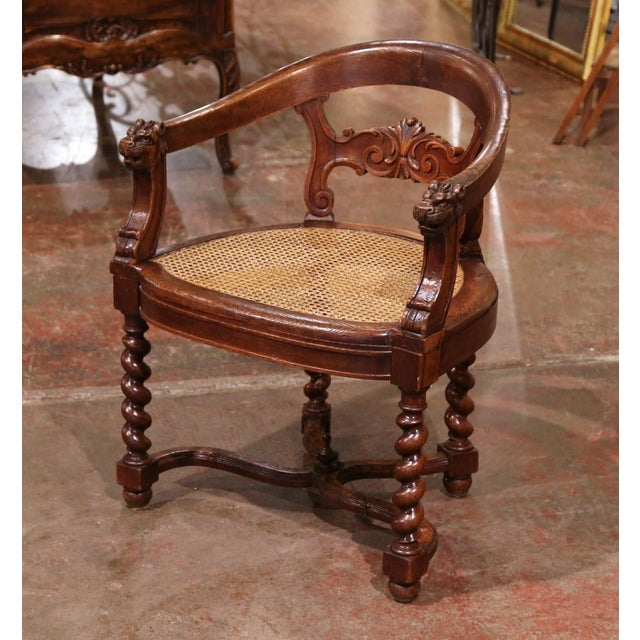 19th Century French Louis XIII Carved Oak Barley Twist and Caning Desk Armchair For Sale - Image 12 of 12