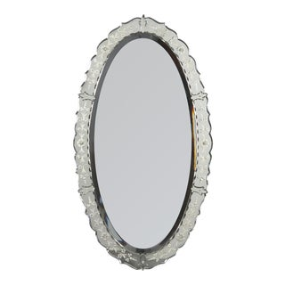 1960s French Mid-Century Oval Venetian Glass Mirror For Sale