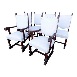 Vintage Solid Reupholstered Jacobean Style Oak Dining Chairs - Set of 6