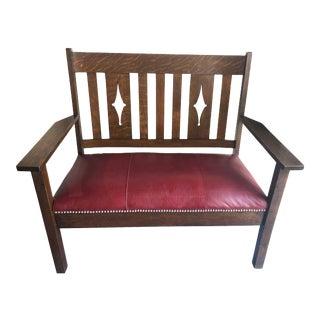 Vintage Mid Century Oak & Leather Settee For Sale