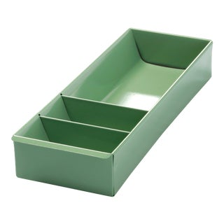 Steel Tanker Drawer Insert Repurposed as Desktop Organizer, Refinished in Sage Green For Sale