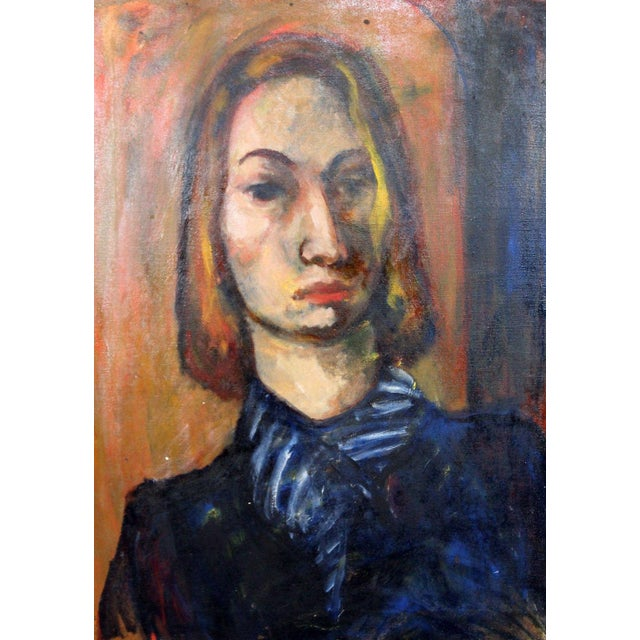 Framed Oil on Canvas Portrait Painting Signed by Annette Dufresne For Sale - Image 4 of 10