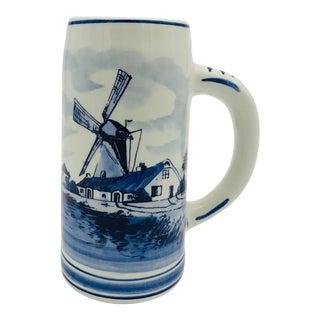Vintage Signed Delftware Blue & White Tall Mug For Sale