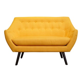 Modern Sunshine Yellow Loveseat For Sale
