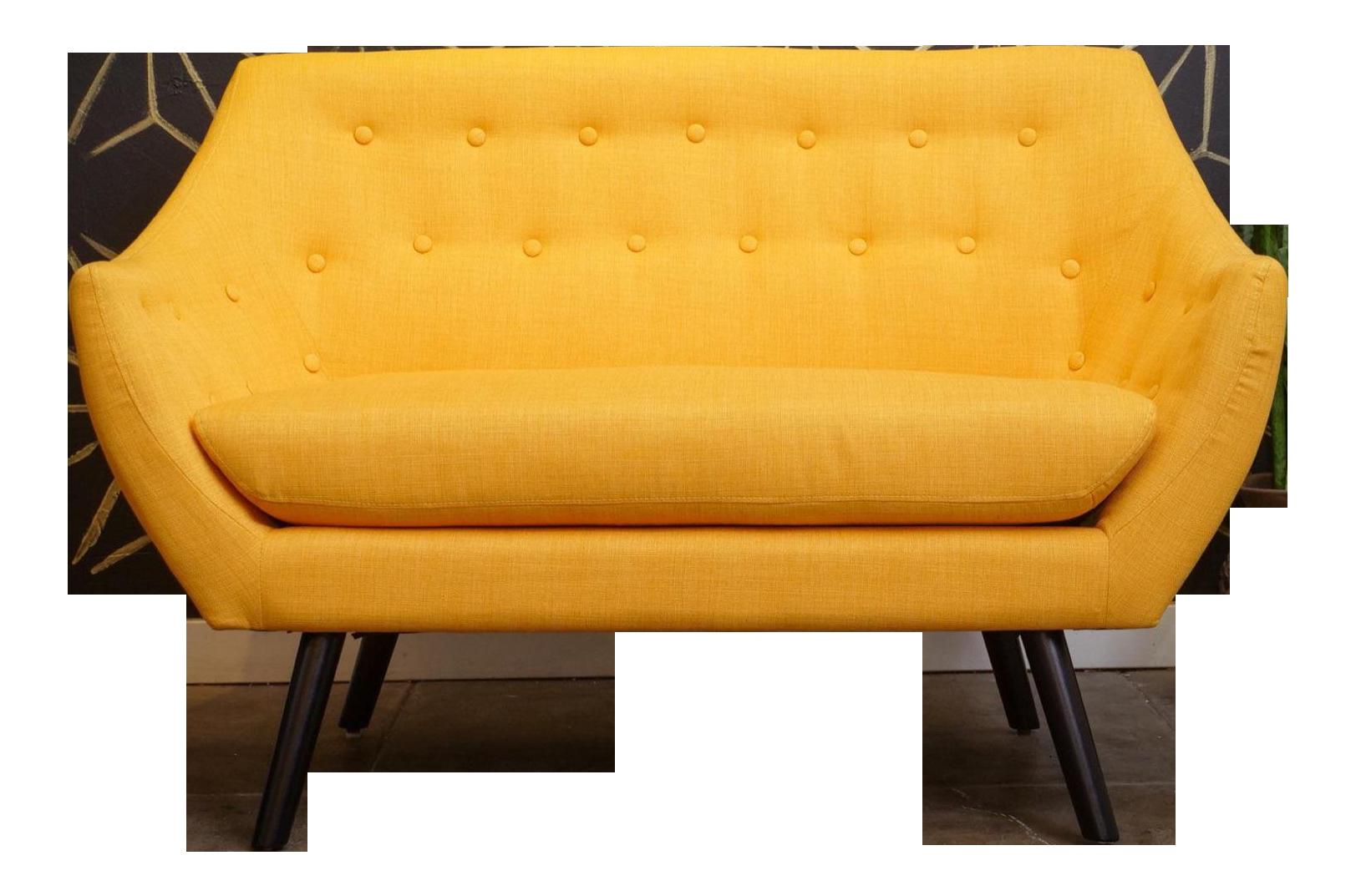 Modern Sunshine Yellow Loveseat