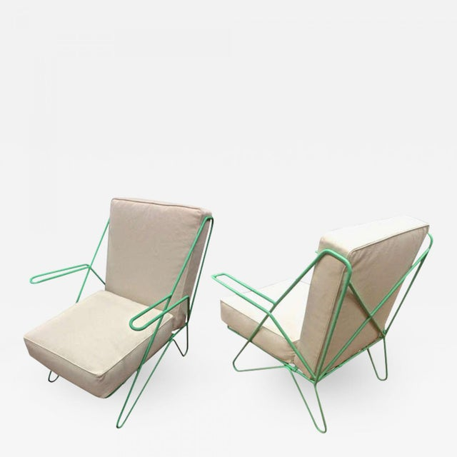 Raoul Guys Rarest Pair of Aqua Metal Chairs Newly Recovered in Canvas Cloth For Sale - Image 6 of 6