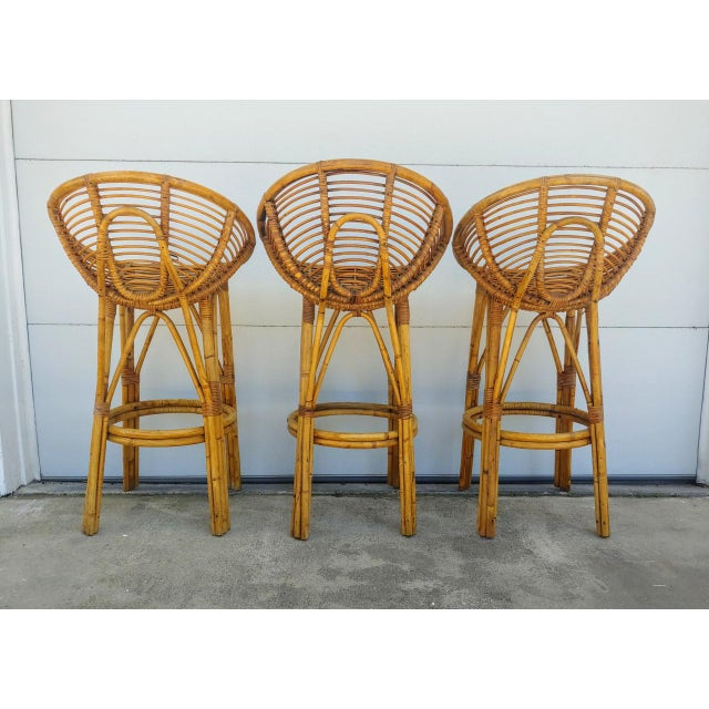 Mid-Century Modern Modern 1950s Albini Style Rattan Bar Stools - Set of 3 For Sale - Image 3 of 10