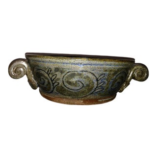 Italianate Scroll Handle Mid Century Studio Pottery Bowl by Bertolini For Sale