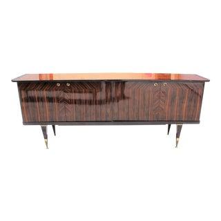 Long French Art Deco Macassar Ebony Sideboard or Buffet Circa 1940s