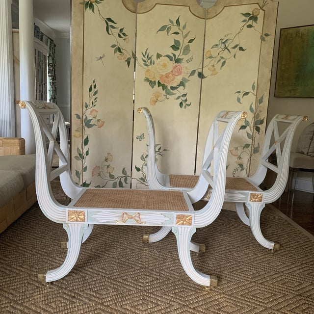 Elegant and graceful lines and a beautifully painted and waxed finish - these regency blue and white painted benches with...