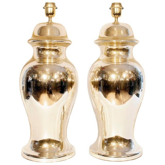 Gold Mirrored Table Lamps - A Pair For Sale