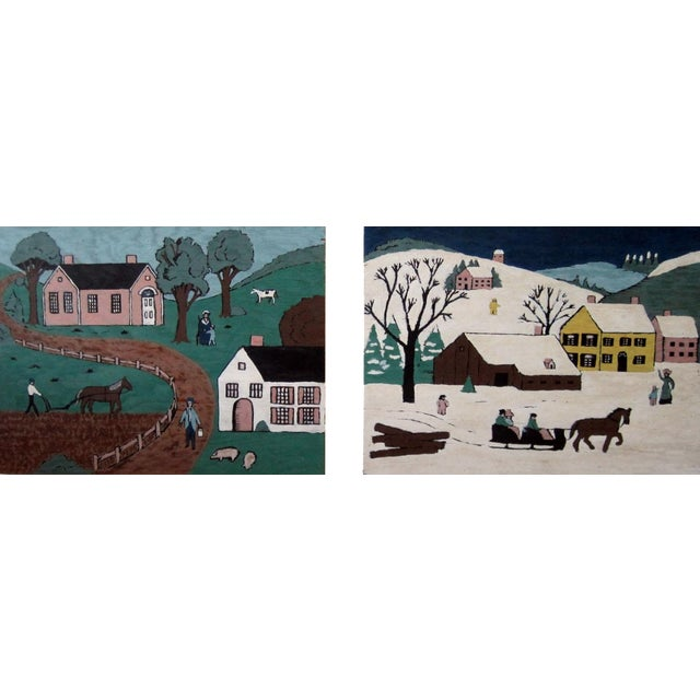Folk Art Village Scenes - Pair - Image 1 of 4