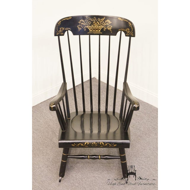 Tell City Black and Gold Hitchcock Style Rocking Chair For Sale - Image 4 of 10