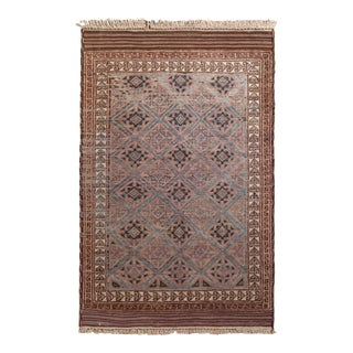 Hand-Knotted Mid-Century Vintage Baluch Rug - Beige-Brown Purple Tribal Pattern For Sale