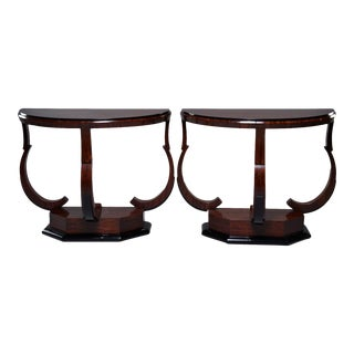 Art Deco Demi Lune Consoles With Ebonised Detailing - a Pair For Sale