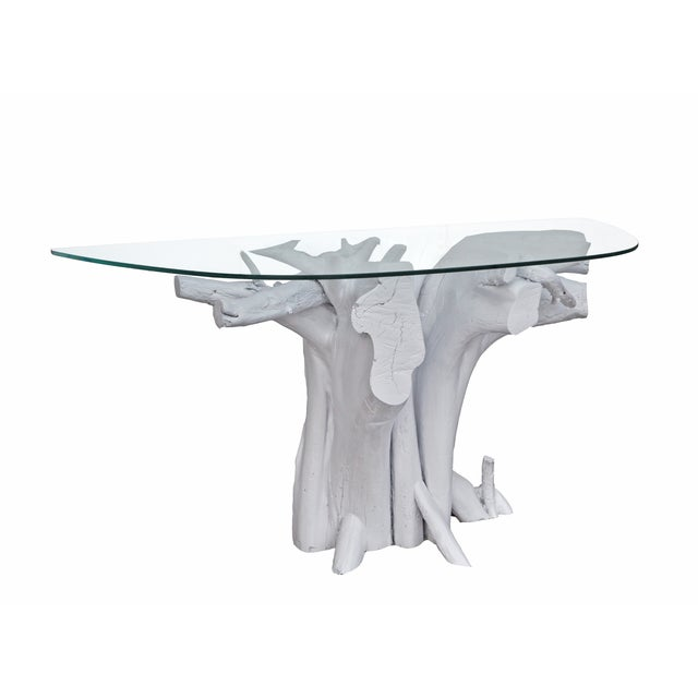 Vintage White Lacquered Driftwood Console Table - Image 2 of 4