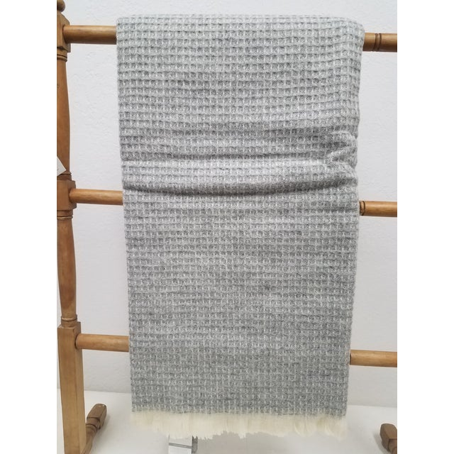 Wool Throw - Gray Waffle Weave Made in England For Sale - Image 9 of 9