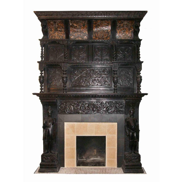 Late 19th Century German Renaissance Style Carved Chestnut Mantel For Sale - Image 11 of 11