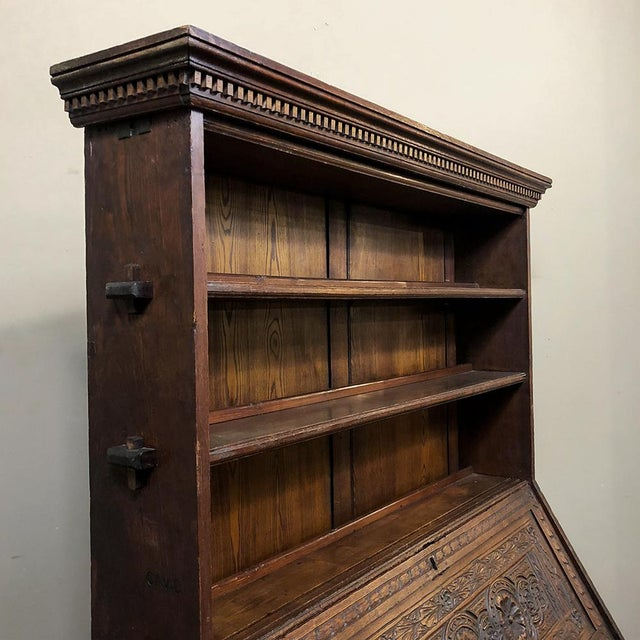 Brown 18th Century English Renaissance Secretary Bookcase For Sale - Image 8 of 13