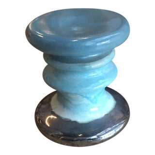 Contemporary Interlude Home Turquoise Ceramic Garden Stool For Sale