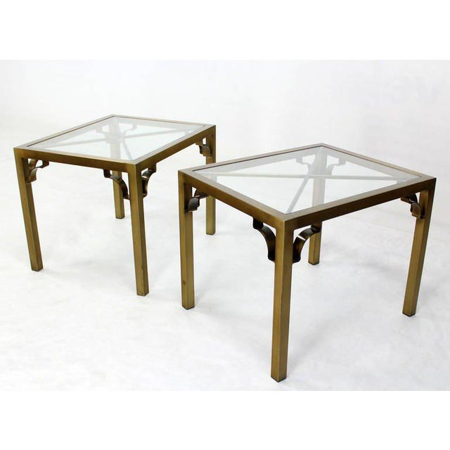 Luxury Pair Of Mid Century Modern Cross Brass Base And Glass Top