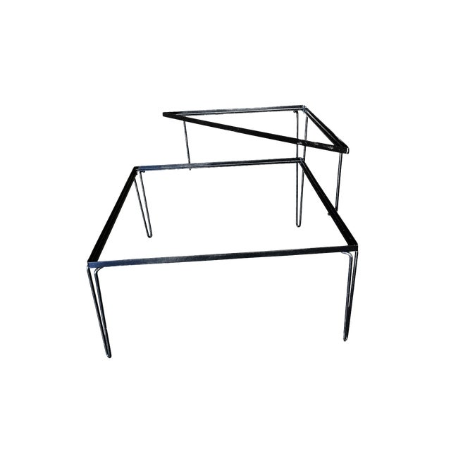 Restored Mid Century Woodard Two-Tier Glass Top Iron Outdoor/Patio Side Table For Sale
