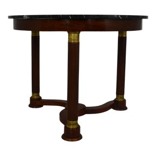 Marble Top Empire Style Table For Sale