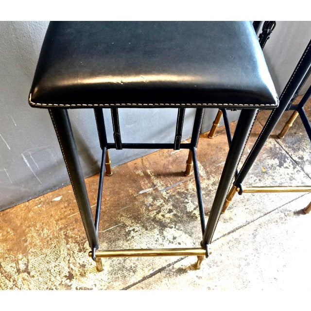 Gold Pair of Jacques Adnet Bar Stools, C. 1950s For Sale - Image 8 of 12