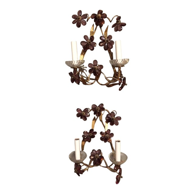 Italian Gilt Metal Wall Sconces with Amethyst Crystals - A Pair For Sale