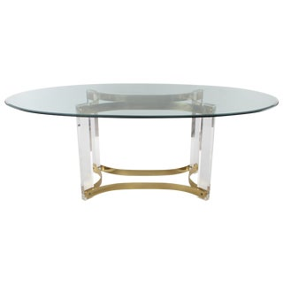 1970s Lucite & Glass Dining Table For Sale