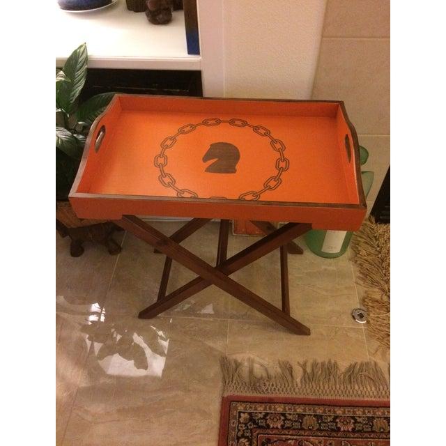 Orange Hollywood Regency Hermès Inspired Orange Equestrian Bar Tray Table For Sale - Image 8 of 12