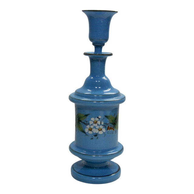 Antique French Hand Painted Blue Opaline Decanter For Sale