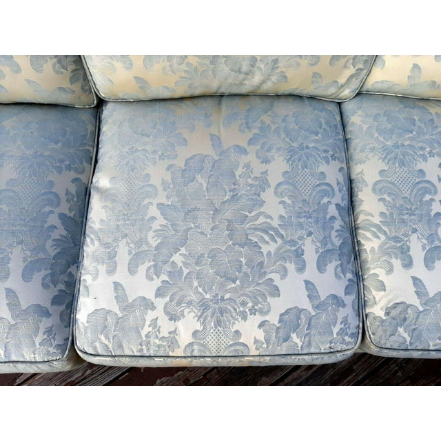 Sky Blue Formal Custom Built Blue on Ivory Silky Damask Upholstered Sofa For Sale - Image 8 of 13