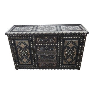 Moroccan Cedar Wood Cabinet with Resin and Metal Inlay For Sale
