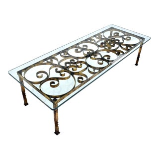 Gilt Iron Coffee Table in the Manner of Gilbert Poillerat For Sale