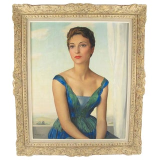 Maurice Ehlinger Oil on Canvas Painting Parisian Socialite Young Woman Portrait For Sale