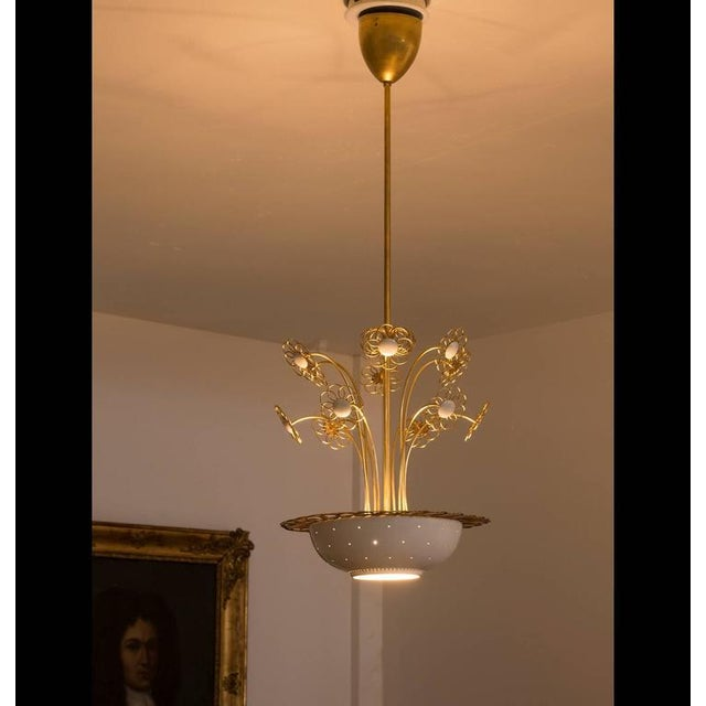 Elegant Floral Chandelier by Paavo Tynell, 1950s For Sale - Image 4 of 9