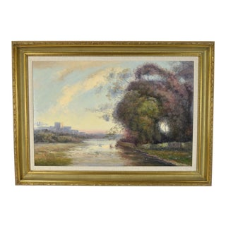 1990s Impressionist Landscape With Castle Ruins Oil Painting For Sale
