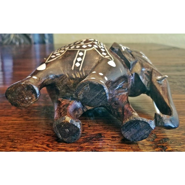 Bone 19th Century Anglo Indian Carved Rosewood and Bone Inlaid Elephant Figure For Sale - Image 7 of 8