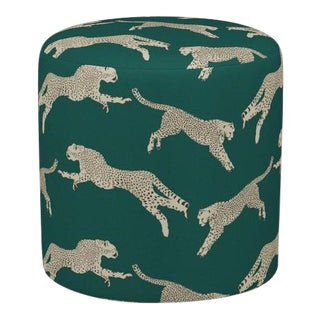 Scalamandre Drum Ottoman in Polo Green Cheetah For Sale