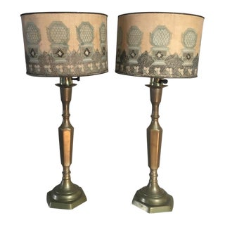 Victorian Half Round Candlestick Table Lamps With Embroidered Shades - a Pair For Sale
