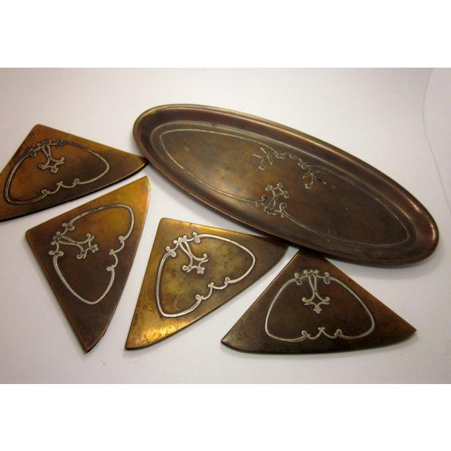 1910s Antique Arts and Crafts Era Heintz Art Metal Sterling Decorated Bronze Art Nouveau Floral Motif Desk Set - Set of 7 For Sale - Image 10 of 11