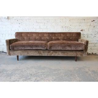 Baker Furniture Mid-Century Tufted Brown Velvet Sofa Preview